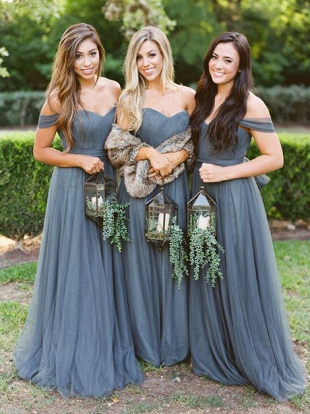 A-Line/Princess Floor-Length Tulle Ruffles Off-the-Shoulder Sleeveless Bridesmaid Dresses