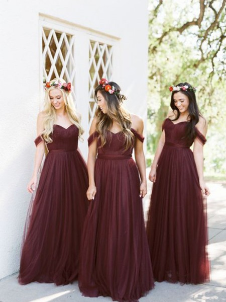 A-Line/Princess Tulle Ruffles Off-the-Shoulder Sleeveless Floor-Length Bridesmaid Dresses