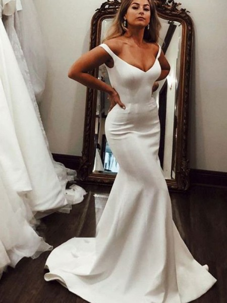Trumpet/Mermaid V-neck Sleeveless Sweep/Brush Train Ruffles Satin Wedding Dresses