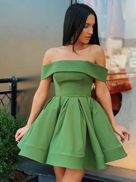 A-Line/Princess Satin Off-the-Shoulder Satin Sleeveless Short/Mini Homecoming Dresses