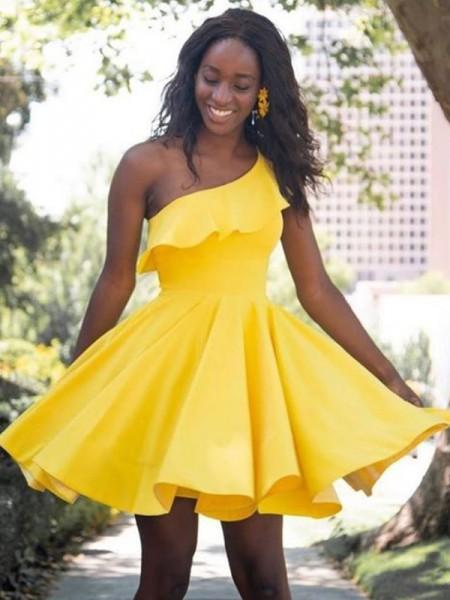 A-Line/Princess One-Shoulder Ruffles Sleeveless Satin Short/Mini Homecoming Dresses