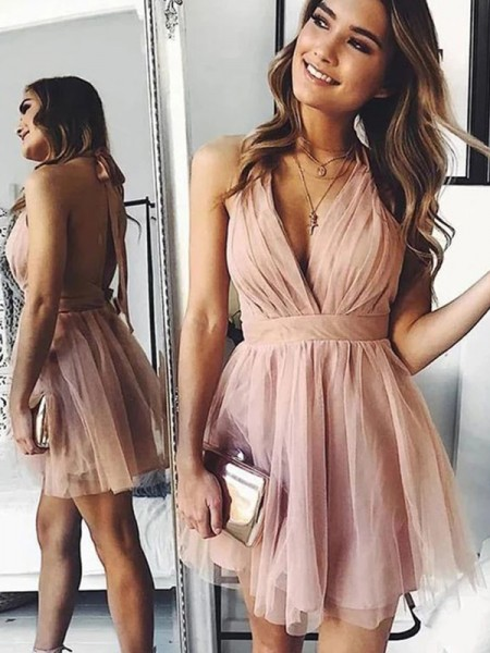 A-Line/Princess Tulle Ruched Halter Sleeveless Short/Mini Homecoming Dresses
