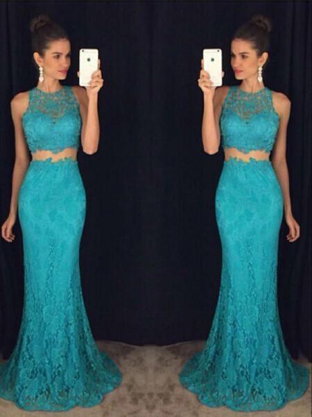 Sheath/Column Scoop Floor-Length Lace Dress