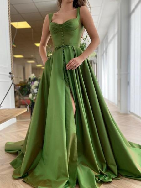 A-Line/Princess Sweep/Brush Train Straps Sleeveless Satin Ruffles Dresses