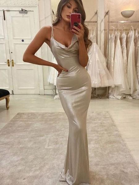 Sheath/Column Satin Straps Sleeveless Ruched Floor-Length Dresses
