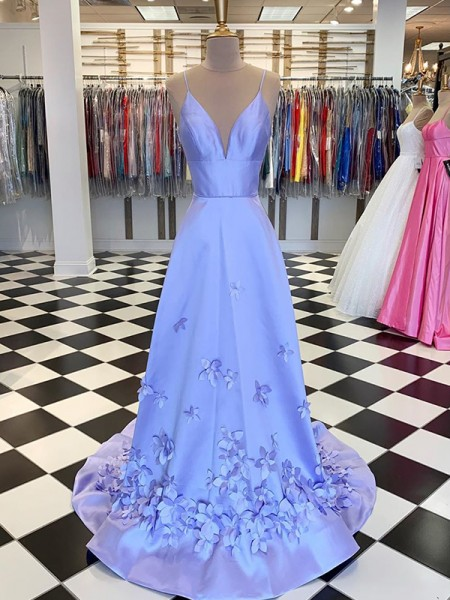 A-Line/Princess Satin Hand-Made Flower V-neck Sleeveless Sweep/Brush Train Dresses