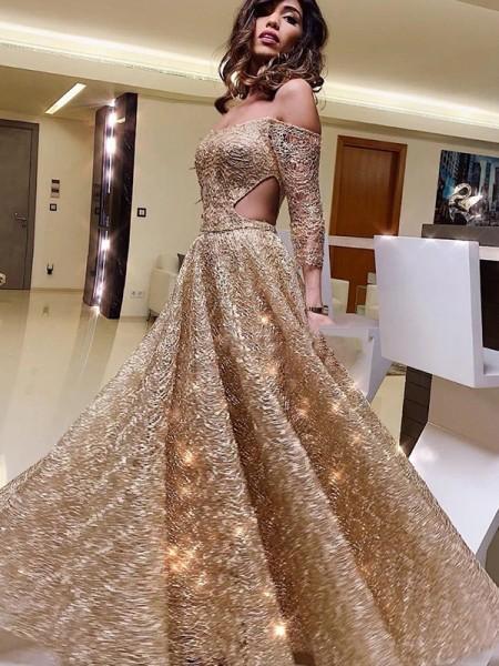 A-Line/Princess Off-the-Shoulder Long Sleeves Sequins Ruffles Floor-Length Dresses