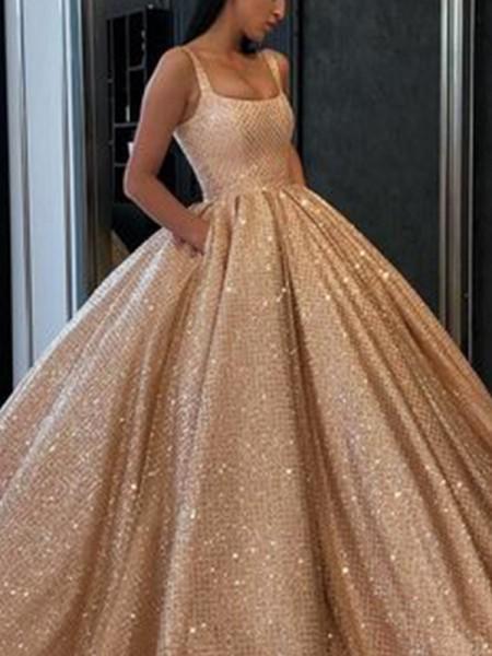 Ball Gown Satin Ruffles Square Sleeveless Floor-Length Dresses