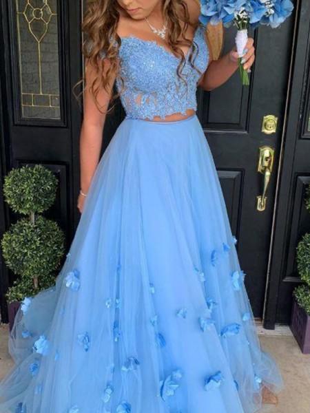 A-Line/Princess Tulle Off-the-Shoulder Applique Sleeveless Floor-Length Dresses