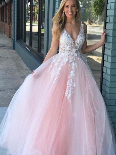 A-Line/Princess V-neck Tulle Applique Sleeveless Floor-Length Dresses