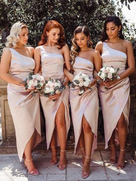 Sheath/Column One-Shoulder Ruched Silk like Satin Sleeveless Ankle-Length Bridesmaid Dresses