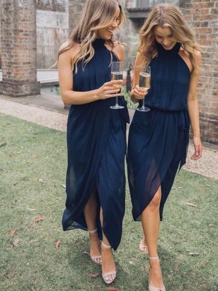 Sheath/Column Tulle Ruffles Halter Sleeveless Ankle-Length Bridesmaid Dresses