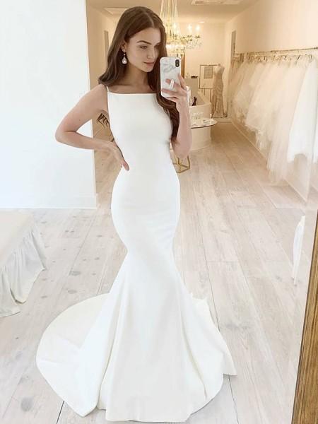 Trumpet/Mermaid Stretch CrepeSquare Sleeveless Ruffles Sweep/Brush Train Wedding Dresses