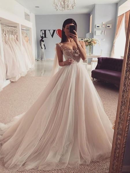 Ball Gown Sweetheart Tulle Ruffles Sleeveless Sweep/Brush Train Wedding Dresses