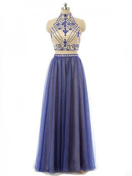 A-Line/Princess High Neck Chiffon Floor-Length Two Piece Dress