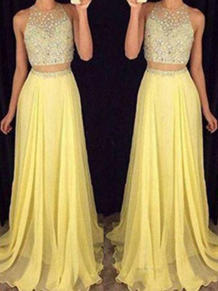 A-Line/Princess Sleeveless Scoop Sweep/Brush Train Beading Chiffon Two Piece Dresses