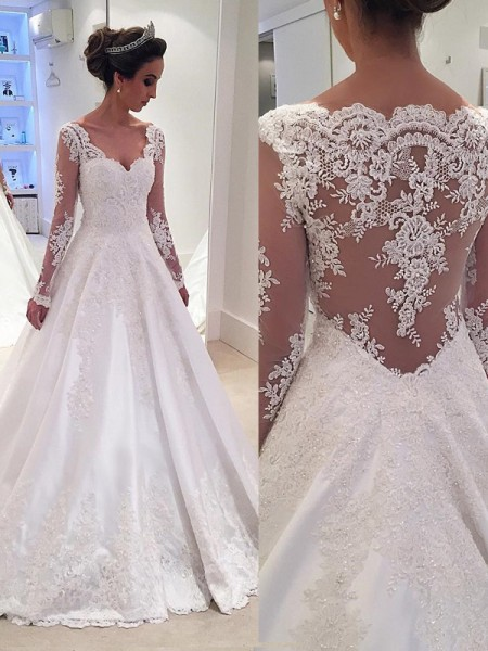 a1b18e4919f4e Ball Gown V-neck Long Sleeves Lace Court Train Satin Wedding Dress