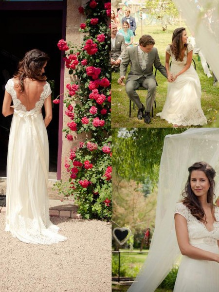 A-Line/Princess V-neck Sweep/Brush Train Tulle Wedding Dress