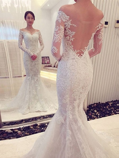 Trumpet/Mermaid Off-the-Shoulder Long Sleeves Lace Sweep/Brush Train Wedding Dresses