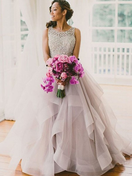 Ball Gown Scoop Sweep/Brush Train Organza Wedding Dress