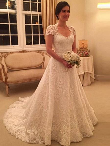 A-Line/Princess Sweetheart Court Train Lace Wedding Dress