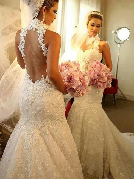 Trumpet/Mermaid High Neck Lace Court Train Wedding Dress