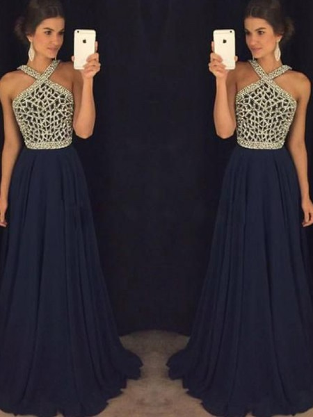 A-Line/Princess Halter Chiffon Floor-Length Dress
