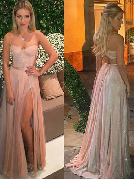 A-Line/Princess Sweetheart Floor-Length Lace Chiffon Dress