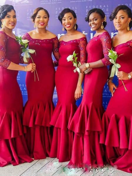 Trumpet/Mermaid 3/4 Sleeves Off-the-Shoulder Floor-Length Ruched Satin Bridesmaid Dress
