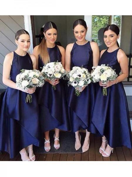 A-Line/Princess Scoop Asymmetrical Layers Satin Bridesmaid Dress