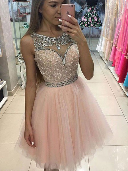 A-Line/Princess Scoop Short/Mini Tulle Dress