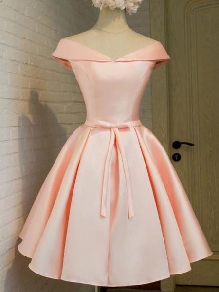 A-Line/Princess V-neck Sash/Ribbon/Belt Satin Short/Mini Dress