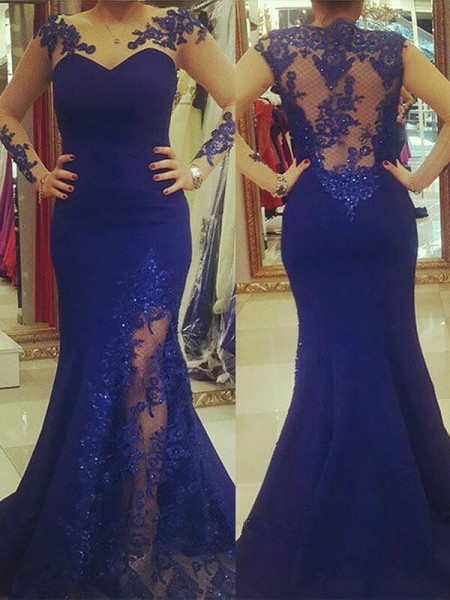 Trumpet/Mermaid Silk like Satin Scoop Applique Long Sleeves Sweep/Brush Train Plus Size Dress