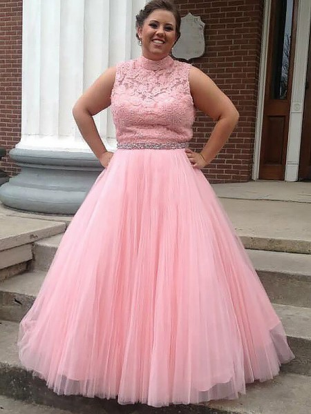 Ball Gown High Neck Tulle Applique Floor-Length Plus Size Dress