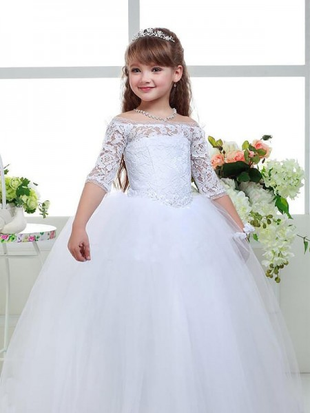 f65773e6901 Ball Gown Off-the-Shoulder 1 2 Sleeves Lace Floor-Length Tulle Flower Girl  Dresses