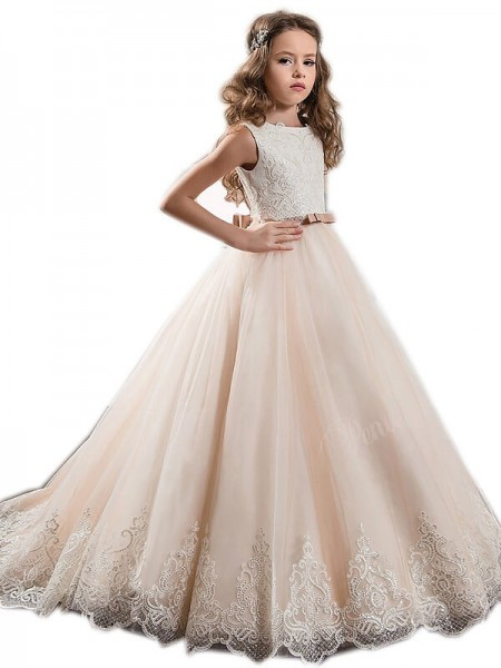 144ef475bf4 Ball Gown Jewel Sleeveless Lace Sweep Brush Train Tulle Flower Girl Dresses