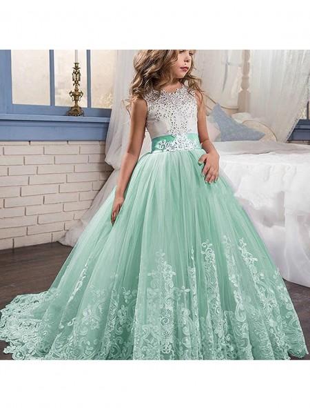 Ball Gown Jewel Sleeveless Lace Floor-Length Tulle Flower Girl Dresses