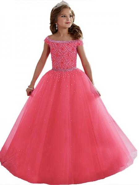 Ball Gown Off-the-Shoulder Beading Floor-Length Tulle Flower Girl Dress