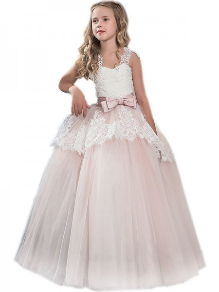 470e1e91dee Ball Gown Sweetheart Sleeveless Bowknot Floor-Length Tulle Flower Girl  Dresses