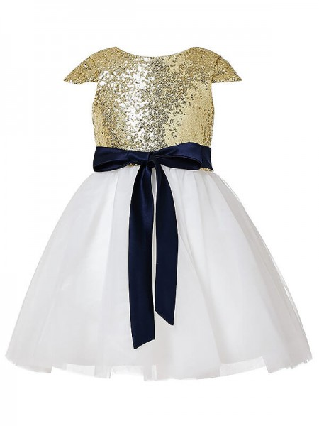 A-Line/Princess Short Sleeves Jewel Sequins Tulle Short/Mini Flower Girl Dresses