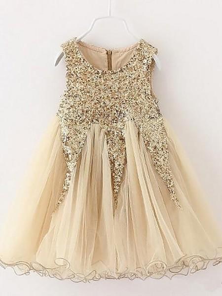 A-Line/Princess Jewel Sequins Tulle Short/Mini Flower Girl Dress