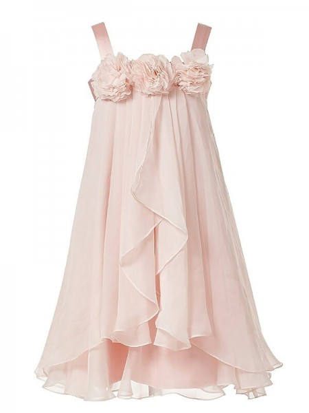A-Line/Princess Straps Hand-Made Flower Chiffon Ankle-Length Flower Girl Dress