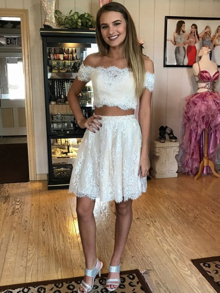 A-Line/Princess Off-the-Shoulder Short/Mini Two Piece Dress with Lace