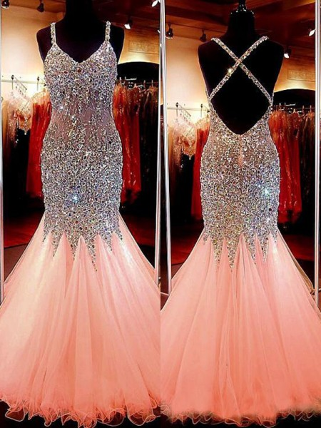 Trumpet/Mermaid Sleeveless V-neck Tulle Sequin Floor-Length Dresses
