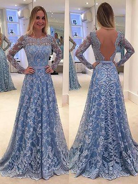 A-Line/Princess Long Sleeves Lace Floor Length Bateau Ruffles Dresses