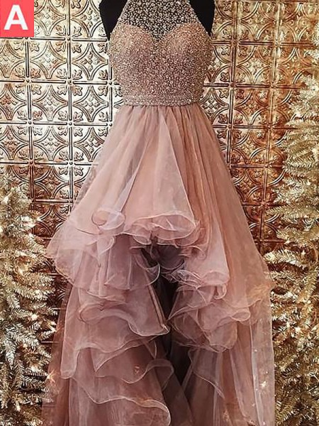 Ball Gown Halter Beading Sleeveless Asymmetrical Organza Dresses