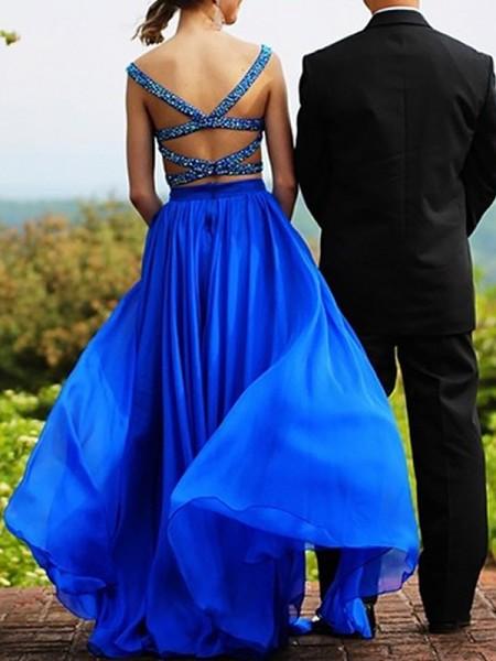 A-Line/Princess Sweetheart Chiffon Beading Floor-Length Two Piece Dress