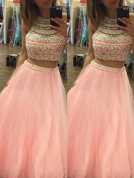 A-Line/Princess Halter Tulle Floor-Length Beading Two Piece Dress