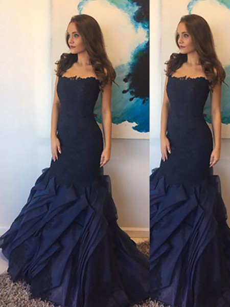 Trumpet/Mermaid Strapless Taffeta Floor-Length Dress with Lace