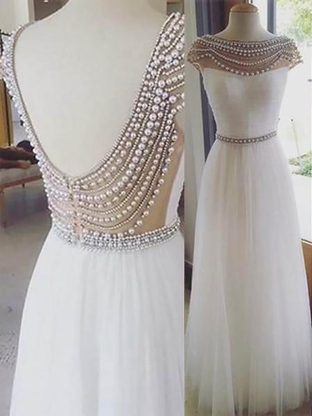 A-Line/Princess Bateau Floor-Length Beading Tulle Dress